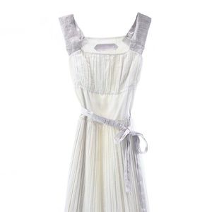 SCHUMACHER IVORY SLEEVELESS PLEATED MIDI DRESS XS